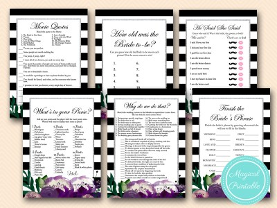 purple floral and silver bridal shower games pack printable bs181