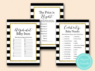 tlc138 black stripes, gold glitter baby shower game