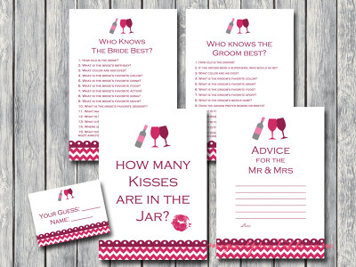 wine themed bridal shower game pack, instant download, printable games bs110
