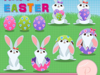 Rabbit Clipart, Easter Clipart, Girl Clipart bunnies cliparts