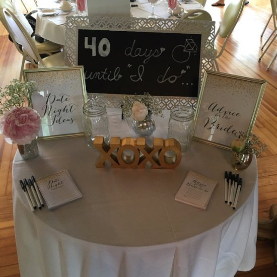 gold bridal shower advice and date night cards