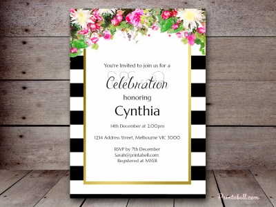 bs176-pink-floral-black-stripes-gold-invitation-bridal-shower-baby-shower