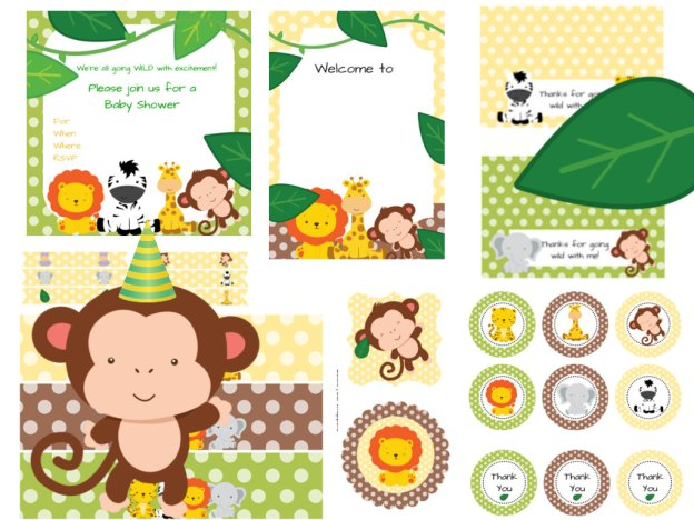 Jungle baby shower pack magical printable for Baby shower decoration packs
