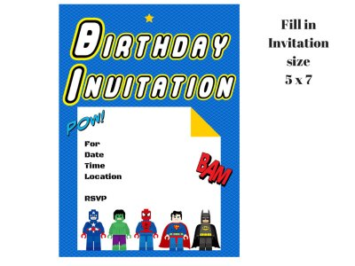 superhero invitation FILL IN