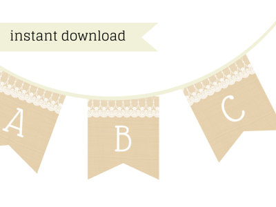 Burlap Lace Banner, Bridal shower banner, baby shower banner, birthday banner, printable banner, instant download, burlap banner, lace