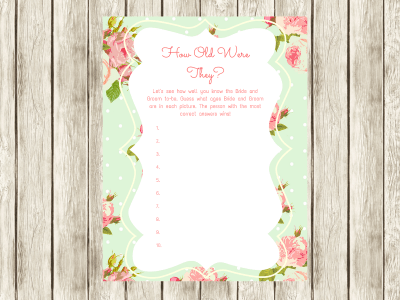 How old were they Game Bridal Shower Games, Printable Bridal Shower Games, Bridal Shower Game Prizes, Unique Bridal Shower Games, Fun Bridal