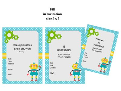 Robot baby shower, robot printable, robot birthday party, robot party collection, robot invitation, robot banner, robot baby