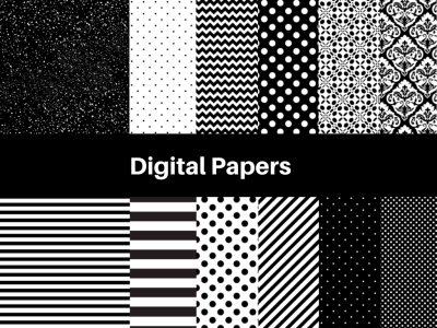chanel Black and White Digital Paper, Digital Background, black Digital Paper, Scrapbook, modern digital papers