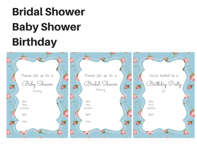 blue Shabby Chic Baby Shower, Shabby Chic Bridal Shower, Girl Birthday Party Packages, Vintage Rose, Chic, Rustic, Twins, Party Printables