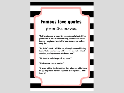 Chanel Inspired Black & White Stripes Bridal Shower Games,chanel inspired bridal shower games, advice for bride to be, advice for bride and groom to be, apron game, date night cards, famous love quotes, good wife guide 1950's, how old was the bride to be, how old were they, recipe cards, scramble , traditions, why do we do that?, what's in your cellphone, what's in yort purse,