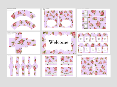 Purple Shabby Chic Baby Shower, Shabby Chic Bridal Shower, Girl Birthday Party Packages, Vintage Rose, Rustic, Twins, Lavender Printable