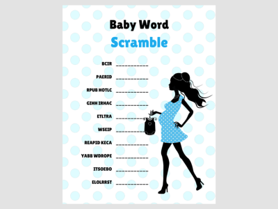 Chic Baby Word Scramble, Modern Baby Shower Games, Printable baby shower Game, Baby shower Activity, Download Baby Shower Games, mod01 4