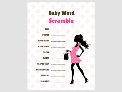 Chic Baby Word Scramble, Modern Baby Shower Games, Printable baby shower Game, Baby shower Activity, Download Baby Shower Games, mod012