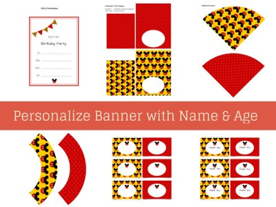 Mickey Mouse Party Package, Mickey Mouse Birthday Party, Instant Download Mickey Mouse Printable Party Pack, Red Dots, Minnie Mouse Party labels
