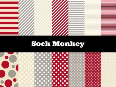 Sock Monkey Digital Papers