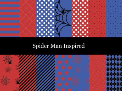 Spiderman Digital Paper, Superhero Inspired Digital Paper, Spiderman Scrapbook Paper, Spiderman background, Spider web, Scrapbooking