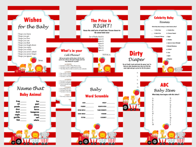 Circus, Carnival Themed Baby Shower Games Set, Baby shower Activities, Game Prize, Unique Baby Shower, ccs1