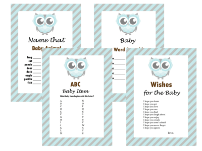 Boy Owl Themed Baby Shower Game, Baby Boy, Activity, Boy Hoot Baby shower, Game Prize, Unique Baby Shower, olg1