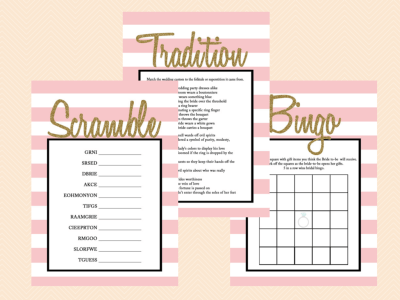 Black Glitter Bridal Shower Game Set