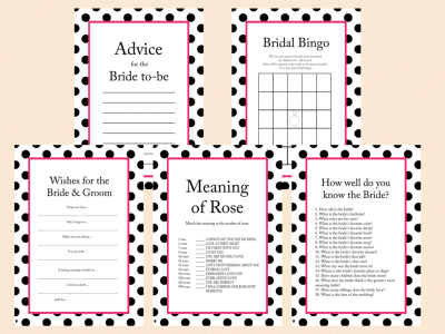 Hot Pink, Black Polka Dots Bridal Shower Games, Black and White Bridal Shower Games, Unique, Bachelorette Games, Wedding Shower Games BS24