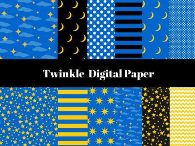 Twinkle Twinkle Little Stars Digital Paper, Digital Background, Stars Digital Paper, Lullaby Digital Paper, Twinkle, Moon, Stars