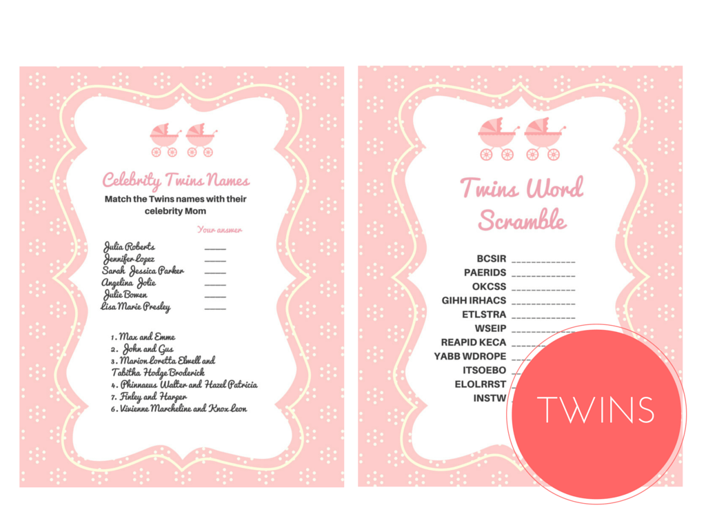Twin Girls Baby Shower Games. Twins Word Scramble Game, Celebrity Twins  Names, TwinS, Twin Girls, ...