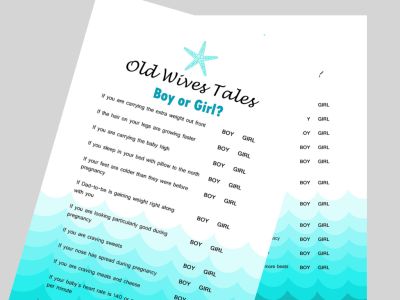 The Old Wives Tale Gender Reveal Baby Shower Game, Nautical Gender Guess, Gender Reveal Game, Gender Trivia Game, Printable Baby Shower Game