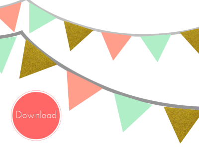 Mint, Coral, Gold bunting_printable_banner