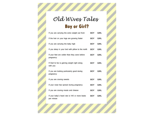 The Old Wives Tale Gender Reveal Baby Shower Game, Baby Gender Guess, Gender Reveal Games, Printable Baby Shower Game, ely01