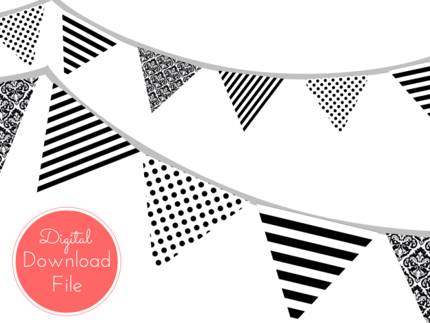 pennant, Modern Black and White Banner, Black White Polka Dots, Black White Stripes, Garland, Baby Shower Banner, Bridal Shower, Wedding banner