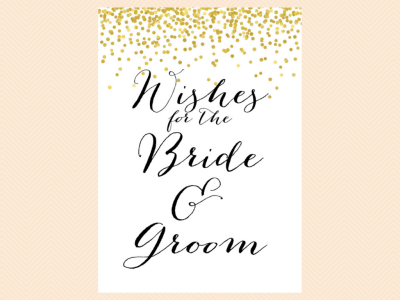 wishes card, Gold Confetti Bridal Shower Game Set, Modern Bridal Shower Game Printable, Bachelorette Games, Wedding Shower Games, Metallic Gold Game BS46