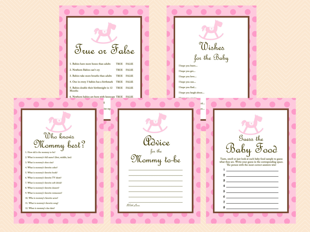 Pink Rocking Horse Baby Shower Games - Magical Printable