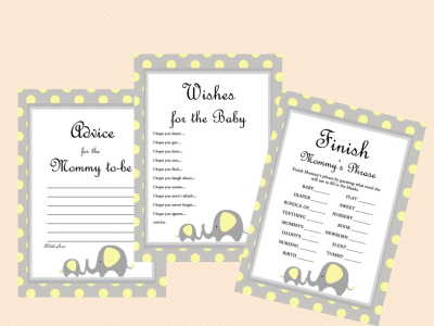 yellow elephant baby shower games pack, advice for mommy, wishes for baby, finish mama's phrase