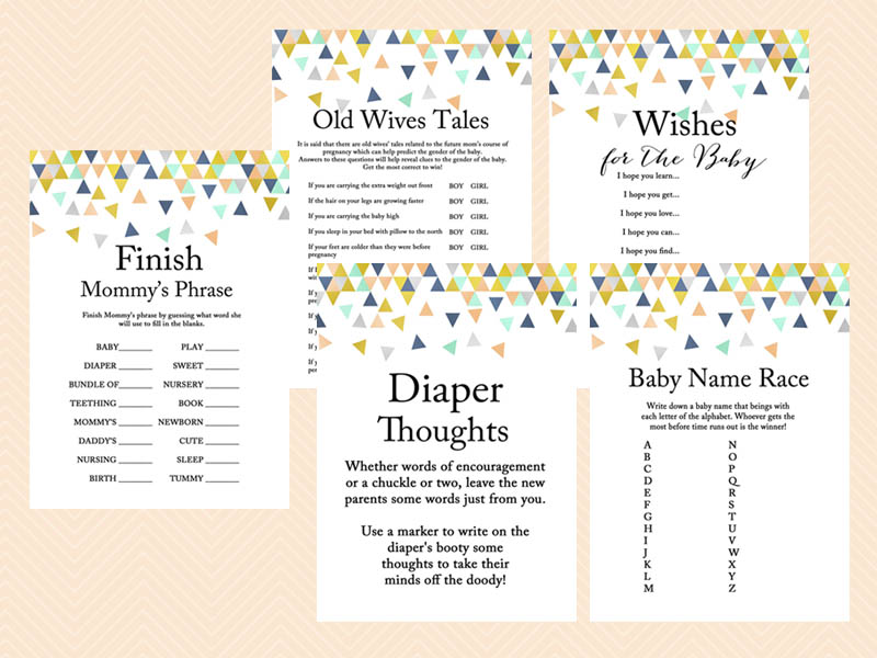 baby shower games modern baby shower game geometric confetti baby