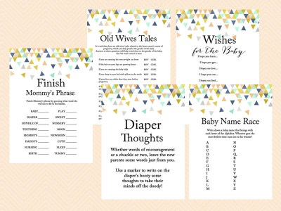 Coral and Mint Baby Shower Games, Modern Baby shower game, Geometric Confetti Baby Shower Game Printable, navy tlc51