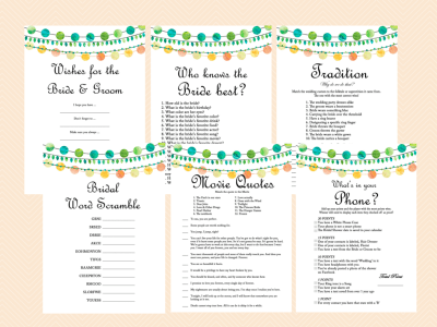 Emerald Bridal Shower Game Printables, Green, Yellow, Orange Colors, Wedding Strings, Bachelorette, Wedding Shower Games BS45