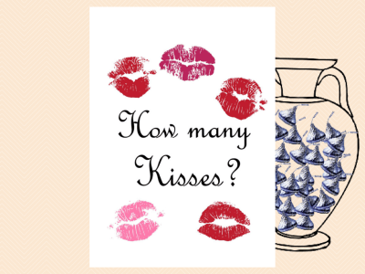 How many Kisses Sign, Guess how many Kisses there are in a jar, Kisses, Fun Bridal Shower Game printable, Baby Shower Games BS44