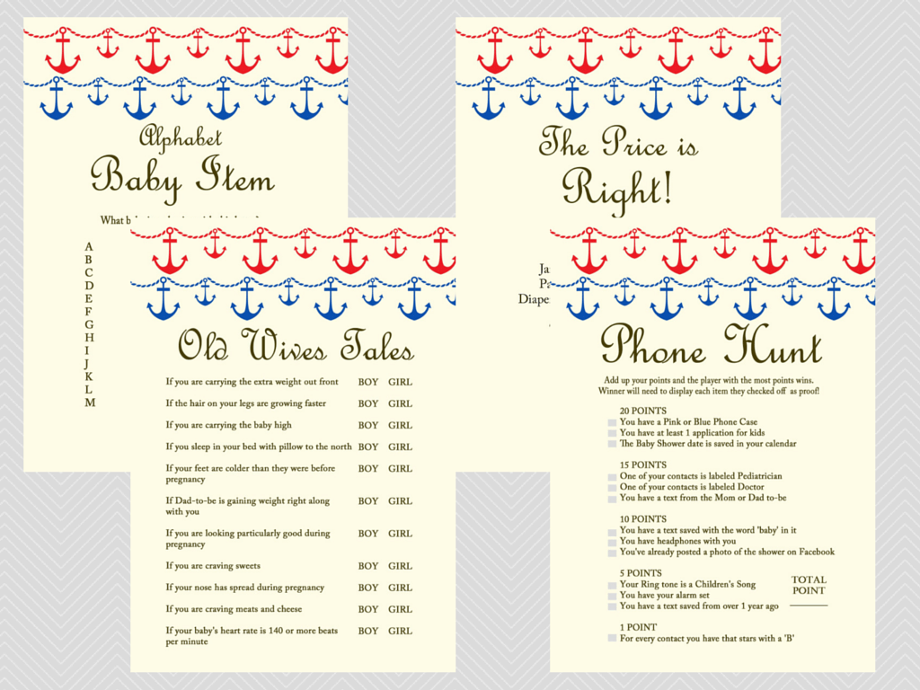 Baby Shower Themes Packages ~ Beach nautical baby shower game package magical printable
