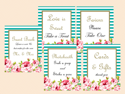 Printable Wedding Signs, Wedding Signage, Wedding Sign Printable, Teal White Stripes, Shabby, Floral, Bridal Shower Sign SN11