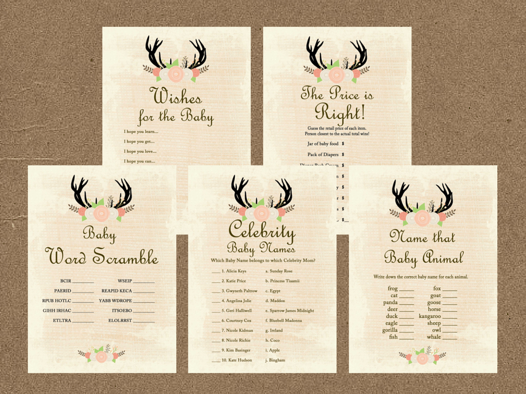 Oh Deer Antlers Baby Shower Game Pack - Magical Printable