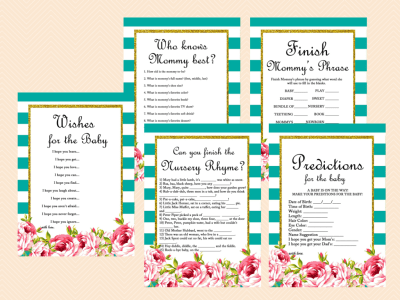 Teal and White Stripes, Floral Chic Baby Shower Games Printables, Game Pack, Teal Baby Shower, Gold Glitter, TLC40