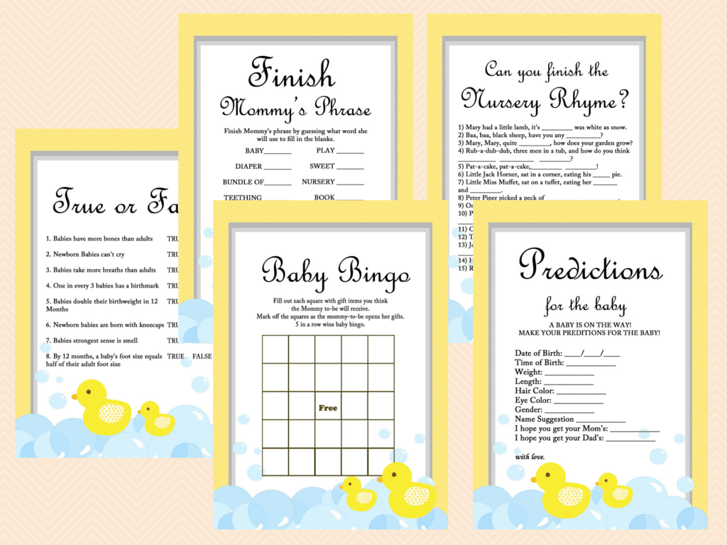 Shower Game Pack, Printables, Duck Theme, Rubber Duck Baby Shower Game ...