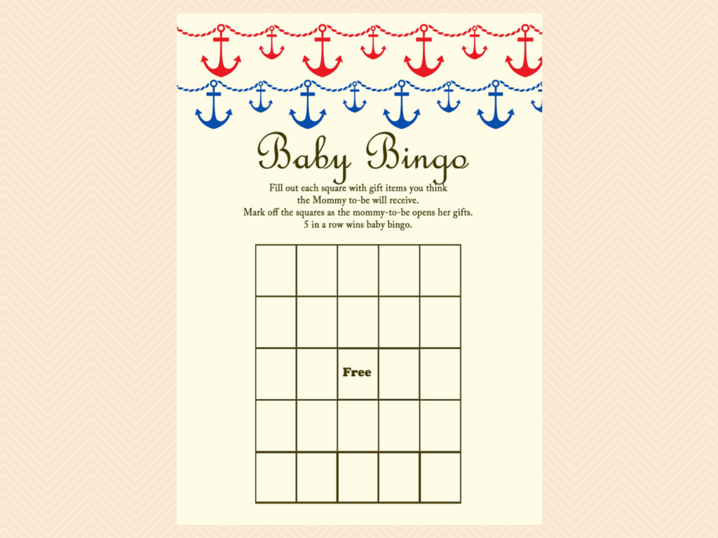 baby bingo, Nautical, Beach Baby Shower Games Printables, Instant ...