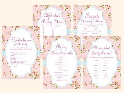 shabby-chic-floral-pink-baby-shower-games-pack-printable-instant-download-tlc43-vintage-rose-antique-rose