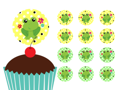 Frog, Prince Frog Cupcake Toppers Printable, Download, Cupcake, Baby Shower Toppers, Birthday Toppers, 2 inch Circle Toppers, Labels