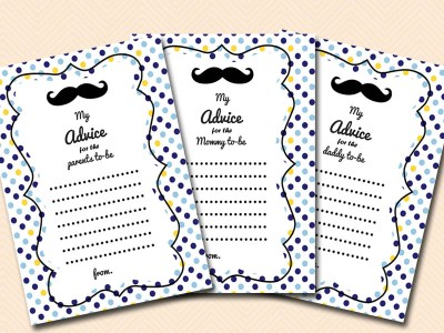 advice-cards-parents-mommy-daddy Mustache Baby Shower Games & Acitivies