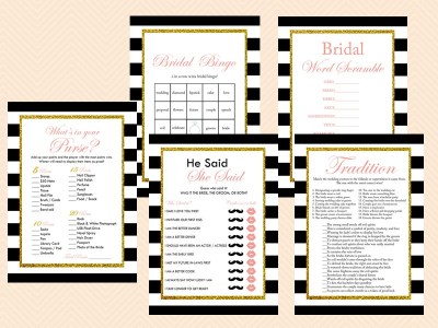 black white stripes pink blush bridal shower game pack bs61