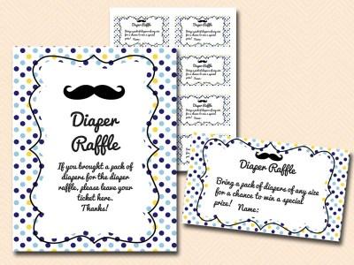 diaper-raffle Mustache Baby Shower Games & Acitivies