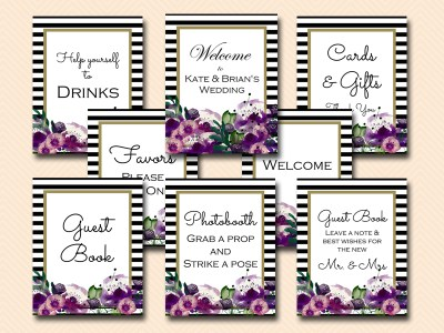 sign-cards-gifts-welcome-purple floral weding signages
