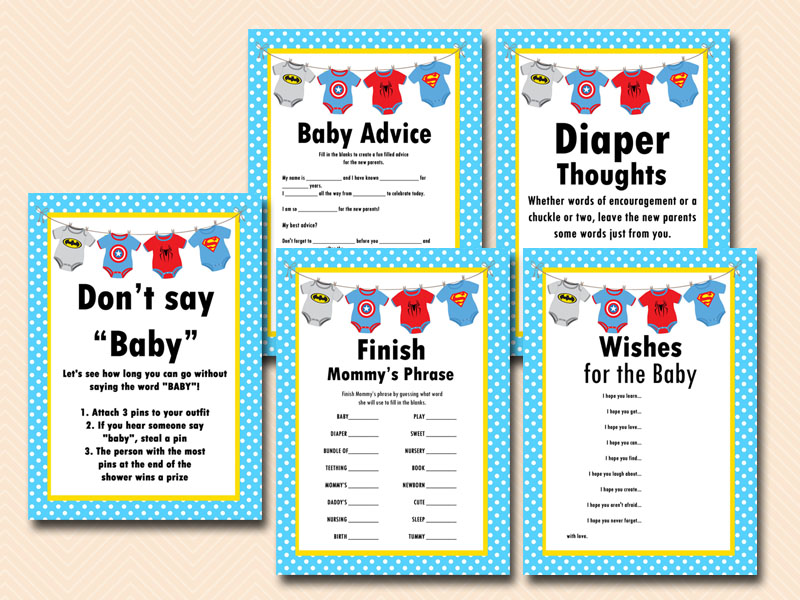 Superhero Baby Shower Games Printable Instant Download Batman